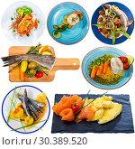 Купить «Dishes with different fish at plates isolated on white background», фото № 30389520, снято 16 июля 2019 г. (c) Яков Филимонов / Фотобанк Лори