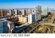 Barcelona, Spain - March 05, 2019: Modern high-rise buildings in the coastal residential areas of Diagonal Mar and Poblenou. Редакционное фото, фотограф Яков Филимонов / Фотобанк Лори