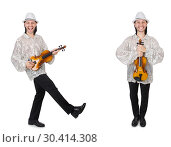 Купить «Young man playing violin isolated on white», фото № 30414308, снято 19 апреля 2019 г. (c) Elnur / Фотобанк Лори