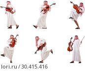 Купить «Arab man playing cello isolated on white», фото № 30415416, снято 8 июля 2020 г. (c) Elnur / Фотобанк Лори
