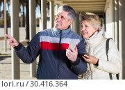 Купить «joyous husband and wife go nearby with each other and speak by mobile phone», фото № 30416364, снято 20 августа 2019 г. (c) Яков Филимонов / Фотобанк Лори
