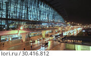 MOSCOW, RUSSIA - 25 december 2018: timelapse and Night panoramic view of Terminal A of Vnukovo International Airport and airport building (2019 год). Редакционное видео, видеограф Mikhail Starodubov / Фотобанк Лори