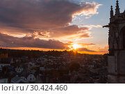 Chapel of Saint-Hubert silhouette at sunset (2016 год). Стоковое фото, фотограф EugeneSergeev / Фотобанк Лори