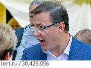 Samara, Russia - May, 2014: The mayor of the city of Samara, Dmitry Azarov, talks with the citizens of his city. Редакционное фото, фотограф Акиньшин Владимир / Фотобанк Лори