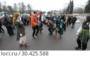 Купить «Celebration of St. Patrick's Day in Moscow Park Sokolniki.», видеоролик № 30425588, снято 16 марта 2019 г. (c) Андрей Радченко / Фотобанк Лори