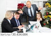 Купить «Unhappy businessman scolding his subordinates», фото № 30434684, снято 14 января 2019 г. (c) Яков Филимонов / Фотобанк Лори