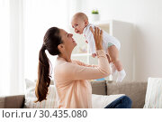 Купить «happy mother playing with little baby boy at home», фото № 30435080, снято 1 сентября 2017 г. (c) Syda Productions / Фотобанк Лори