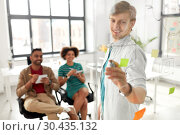 Купить «creative team with scheme on office glass board», фото № 30435132, снято 11 марта 2018 г. (c) Syda Productions / Фотобанк Лори