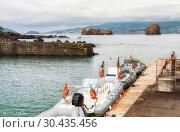 Купить «Motor boats at the pier Madalena, transport between the islands of Pico and Faial, Azores», фото № 30435456, снято 3 мая 2012 г. (c) Юлия Бабкина / Фотобанк Лори