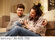 Купить «happy couple with cat at home», фото № 30435700, снято 13 января 2018 г. (c) Syda Productions / Фотобанк Лори