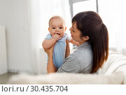 happy mother with little baby son at home. Стоковое фото, фотограф Syda Productions / Фотобанк Лори