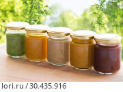 Купить «vegetable or fruit puree or baby food in jars», фото № 30435916, снято 21 февраля 2017 г. (c) Syda Productions / Фотобанк Лори