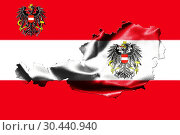 Купить «Map of Austria with national flag isolated on Austrian Flag background With Coat Of Arms Eagle Emblem.», фото № 30440940, снято 23 февраля 2020 г. (c) easy Fotostock / Фотобанк Лори