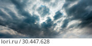 Купить «Summer weather changing overcast sky background.», фото № 30447628, снято 18 июня 2017 г. (c) Юрий Брыкайло / Фотобанк Лори