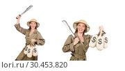 Купить «Woman wearing safari hat on white», фото № 30453820, снято 21 июня 2015 г. (c) Elnur / Фотобанк Лори