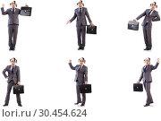 Купить «Funny clown businessman with briefcase», фото № 30454624, снято 24 апреля 2019 г. (c) Elnur / Фотобанк Лори