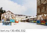 Many buildings in Sarajevo still show the damage scars of the 1992-96 siege of the city (2018 год). Редакционное фото, фотограф Николай Коржов / Фотобанк Лори