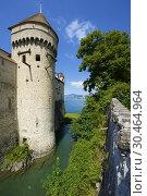 Chillon Castle view in Geneve Lake, Switzerland. Стоковое фото, фотограф Pedro Salaverría / age Fotostock / Фотобанк Лори