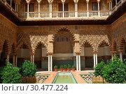 Купить «Patio de las Doncellas (Courtyard of the Maidens) an Italian Renaissance courtyard (1540-72) with Arabesque Mudéjar style plaster work, Alcazar of Seville, Seville, Spain.», фото № 30477224, снято 7 июня 2013 г. (c) age Fotostock / Фотобанк Лори