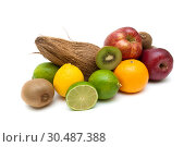 Купить «Ripe fruit isolated on white background», фото № 30487388, снято 16 марта 2014 г. (c) Ласточкин Евгений / Фотобанк Лори