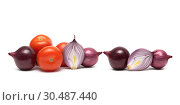 Купить «Onions and ripe tomatoes on a white background», фото № 30487440, снято 19 мая 2014 г. (c) Ласточкин Евгений / Фотобанк Лори