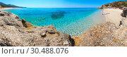 Купить «Drymades beach panorama, Albania.», фото № 30488076, снято 14 декабря 2019 г. (c) Юрий Брыкайло / Фотобанк Лори