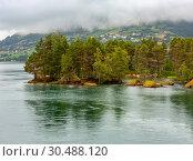Summer cloudy fjord landscape, Norway (2013 год). Стоковое фото, фотограф Юрий Брыкайло / Фотобанк Лори