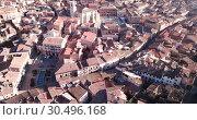 Aerial view of tiled roofs and old streets of Daroca, Spain (2019 год). Стоковое видео, видеограф Яков Филимонов / Фотобанк Лори