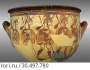 Large wine krater known as 'House of the Warrior Vase', showing men in full armour ( helmet, cuirass, greaves, shield and spear ) as they depart fro war... Стоковое фото, фотограф Funkystock / age Fotostock / Фотобанк Лори