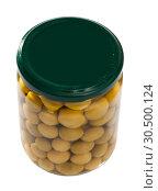 Купить «Glass jar of olives», фото № 30500124, снято 20 апреля 2019 г. (c) Яков Филимонов / Фотобанк Лори