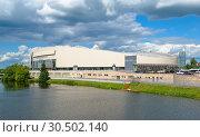 Купить «Kolomna, Russia - June 9, 2018: Skating complex of the Moscow region Kolomna on the bank of the river Kolomenki», фото № 30502140, снято 9 июня 2018 г. (c) Алексей Голованов / Фотобанк Лори