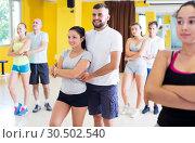 Купить «People dancing salsa in studio», фото № 30502540, снято 21 июня 2017 г. (c) Яков Филимонов / Фотобанк Лори