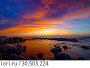 Купить «Beautiful sunset at sea side with stones», фото № 30503224, снято 19 февраля 2020 г. (c) Антон Гвоздиков / Фотобанк Лори
