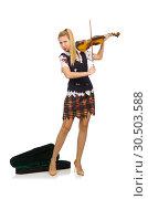 Купить «Woman violin player isolated on white», фото № 30503588, снято 20 октября 2014 г. (c) Elnur / Фотобанк Лори