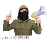 Купить «Criminal wearing mask isolated on white», фото № 30504016, снято 19 декабря 2014 г. (c) Elnur / Фотобанк Лори