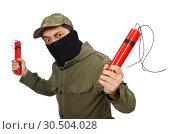 Купить «Criminal wearing mask isolated on white», фото № 30504028, снято 19 декабря 2014 г. (c) Elnur / Фотобанк Лори