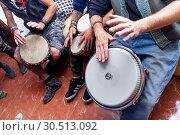 Купить «Musicians playing Bongo drums», фото № 30513092, снято 24 марта 2019 г. (c) age Fotostock / Фотобанк Лори
