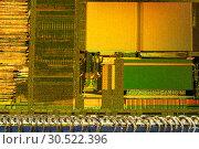 Купить «Crystal chip CPU macro shot», фото № 30522396, снято 9 апреля 2019 г. (c) Виталий Поздеев / Фотобанк Лори