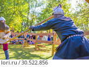 Купить «Russia, Samara, September 2018: Spectacular staged battles of Slavic warriors and knights at the festival in Zagorodny Park.», фото № 30522856, снято 16 сентября 2018 г. (c) Акиньшин Владимир / Фотобанк Лори