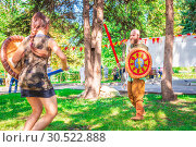 Купить «Russia, Samara, September 2018: Spectacular staged battles of Slavic warriors and knights at the festival in Zagorodny Park.», фото № 30522888, снято 16 сентября 2018 г. (c) Акиньшин Владимир / Фотобанк Лори