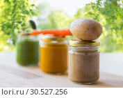 Купить «vegetable puree or baby food in glass jars», фото № 30527256, снято 21 февраля 2017 г. (c) Syda Productions / Фотобанк Лори