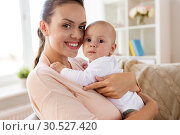 Купить «happy mother with little baby boy at home», фото № 30527420, снято 1 сентября 2017 г. (c) Syda Productions / Фотобанк Лори