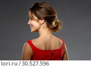 Купить «portrait of beautiful young woman in red dress», фото № 30527596, снято 20 января 2019 г. (c) Syda Productions / Фотобанк Лори