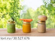 Купить «vegetable puree or baby food in glass jars», фото № 30527676, снято 21 февраля 2017 г. (c) Syda Productions / Фотобанк Лори