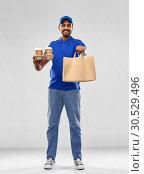 Купить «happy indian delivery man with food and drinks», фото № 30529496, снято 12 января 2019 г. (c) Syda Productions / Фотобанк Лори