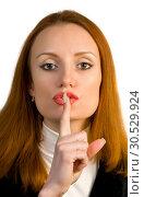 Shh sign. Woman secret. Keep silence. Стоковое фото, фотограф Tryapitsyn Sergiy / Фотобанк Лори