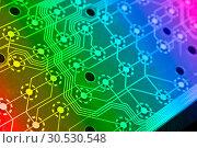 Купить «Computer electronics scheme», фото № 30530548, снято 27 апреля 2010 г. (c) Tryapitsyn Sergiy / Фотобанк Лори