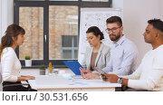 Купить «recruiters having interview with employee», видеоролик № 30531656, снято 29 марта 2019 г. (c) Syda Productions / Фотобанк Лори