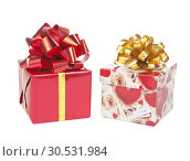 Купить «Two gift boxes with bows bows», фото № 30531984, снято 29 октября 2010 г. (c) Tryapitsyn Sergiy / Фотобанк Лори