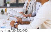 Купить «recruiters having interview with employee», видеоролик № 30532040, снято 29 марта 2019 г. (c) Syda Productions / Фотобанк Лори